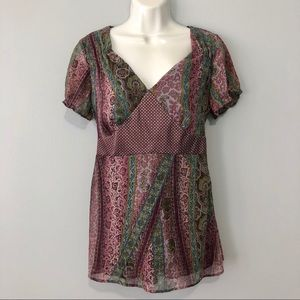 NY Collection purple tie back blouse small
